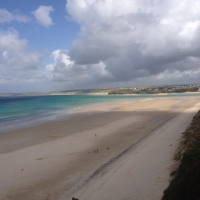 lelant beach Cornwall looking across to Hayle beach